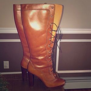Michael Kors boots tall brown stacked heel boots